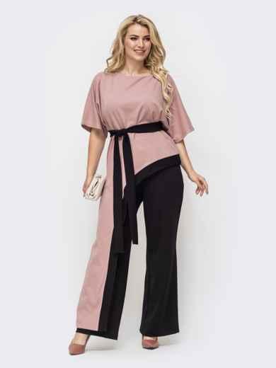 Пудровый комплект батал с асимметричной блузкой и брюками-клеш 50738, фото 1