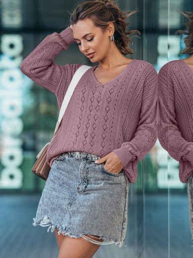 Пудровый вязаный свитер с треугольным вырезом горловины 50450, фото 1