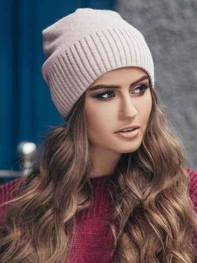 Розовая зимняя шапка без помпона 14727, фото 1