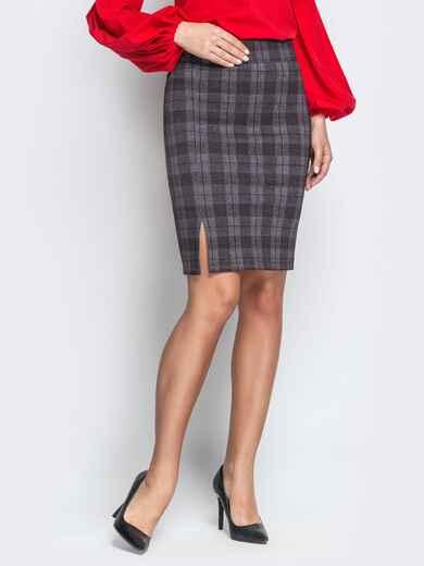 Серая юбка-карандаш в клетку с разрезом - 21235, фото 1 – интернет-магазин Dressa