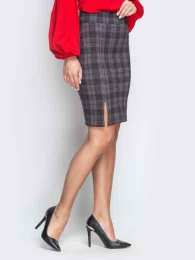 Серая юбка-карандаш в клетку с разрезом - 21235, фото 2 – интернет-магазин Dressa