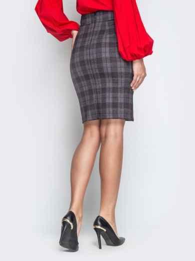 Серая юбка-карандаш в клетку с разрезом - 21235, фото 3 – интернет-магазин Dressa