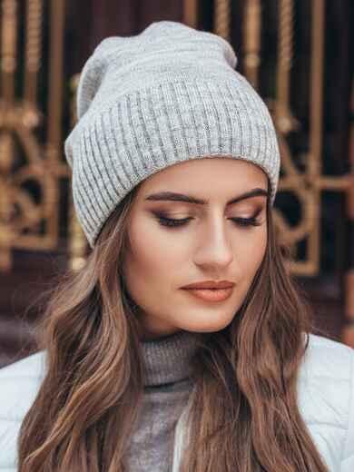 Серая зимняя шапка без помпона 14729, фото 1