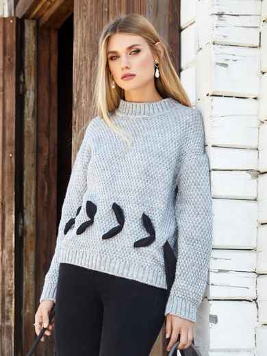 Серый свитер мелкой вязки с контрастной лентой - 41048, фото 1 – интернет-магазин Dressa