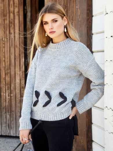 Серый свитер мелкой вязки с контрастной лентой - 41048, фото 2 – интернет-магазин Dressa