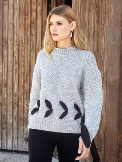 Серый свитер мелкой вязки с контрастной лентой - 41048, фото 3 – интернет-магазин Dressa