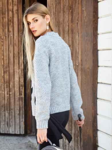 Серый свитер мелкой вязки с контрастной лентой - 41048, фото 4 – интернет-магазин Dressa