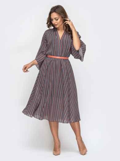 Шифоновое платье в полоску и трикотажной подкладкой 45827, фото 1