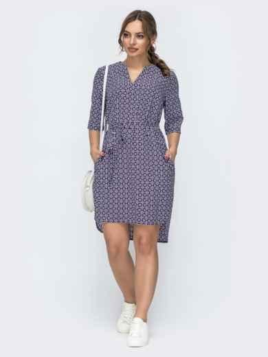 Темно-синее платье свободного кроя с принтом 46949, фото 1