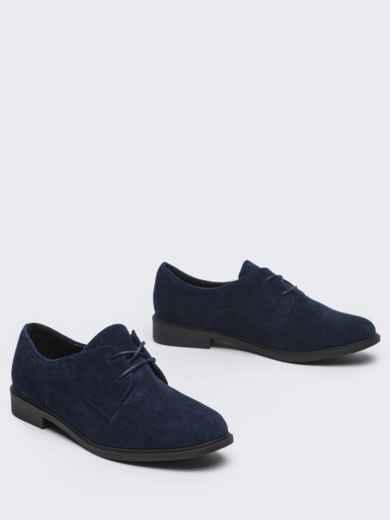 Темно-синие туфли из нубука на низком ходу 50484, фото 2