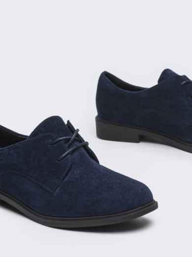 Темно-синие туфли из нубука на низком ходу 50484, фото 3
