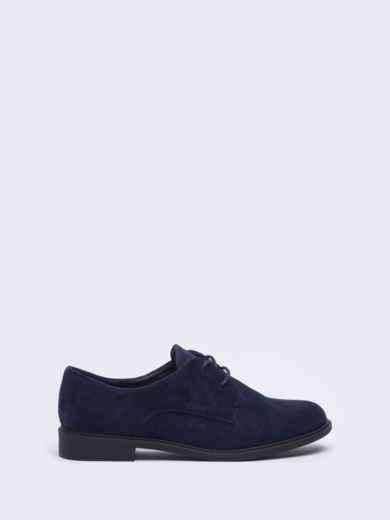 Темно-синие туфли из нубука на низком ходу 50484, фото 4
