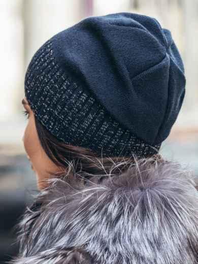 Темно-синяя зимняя шапка без помпона - 14726, фото 2 – интернет-магазин Dressa