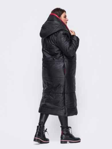 Удлиненная куртка со вшитым капюшоном чёрная 50739, фото 2