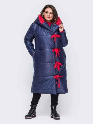 Удлиненная куртка со вшитым капюшоном синяя 50740, фото 1