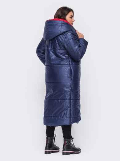 Удлиненная куртка со вшитым капюшоном синяя 50740, фото 3