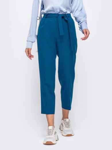 Укороченные брюки со шлевками и поясом синие 50216, фото 1