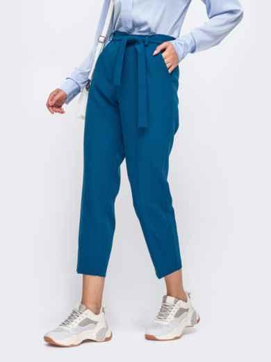 Укороченные брюки со шлевками и поясом синие 50216, фото 2