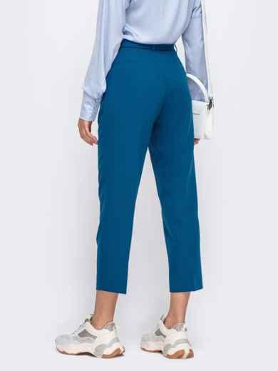 Укороченные брюки со шлевками и поясом синие 50216, фото 3