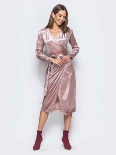 Велюровое платье розового цвета с запахом - 17695, фото 2 – интернет-магазин Dressa