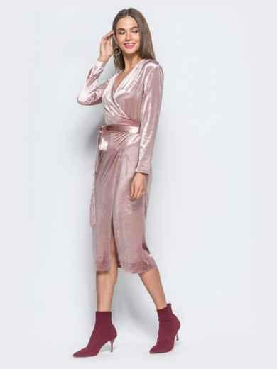 Велюровое платье розового цвета с запахом - 17695, фото 3 – интернет-магазин Dressa
