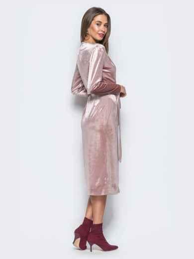 Велюровое платье розового цвета с запахом - 17695, фото 4 – интернет-магазин Dressa
