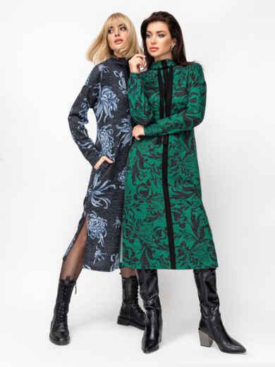 Зеленое платье с принтом и разрезами по бокам 52941, фото 1