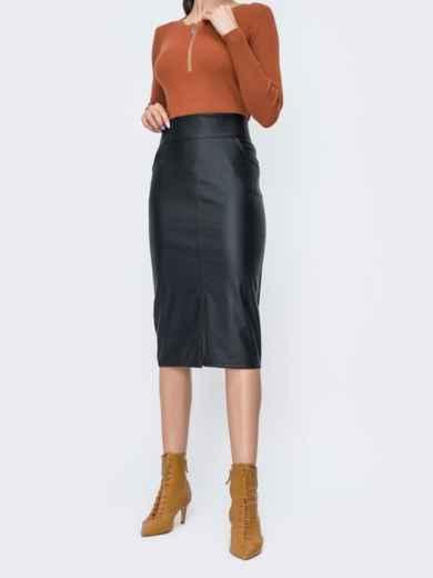 Чёрная юбка-карандаш из эко-кожи 44854, фото 1