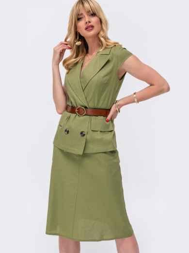 Классический комплект из жакета и юбки цвета хаки 48893, фото 1