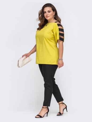 Комплект большого размера с желтой блузкой и брюками 49695, фото 2