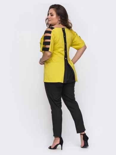 Комплект большого размера с желтой блузкой и брюками 49695, фото 3
