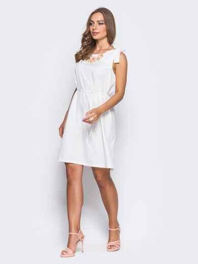 Платье на бретелях-завязках с поясом в комплекте белое - 11064, фото 1 – интернет-магазин Dressa