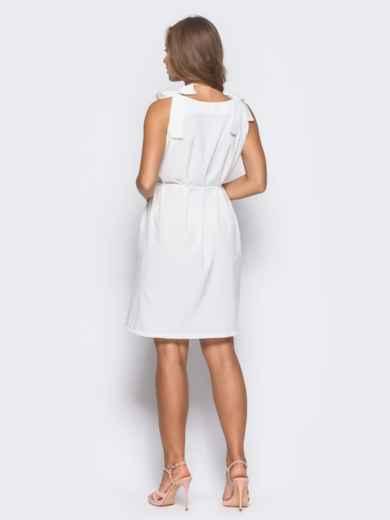 Платье на бретелях-завязках с поясом в комплекте белое - 11064, фото 2 – интернет-магазин Dressa