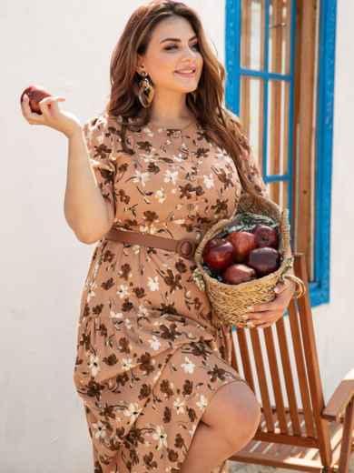 Расклешенное платье батал с цветочным принтом коричневое 54388, фото 1