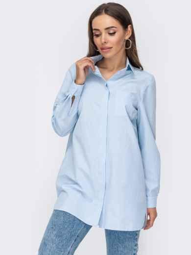 Удлиненная рубашка из хлопка в голубую полоску 53406, фото 1