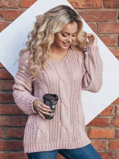 Вязаная туника со спущенным плечом розовая - 13179, фото 2 – интернет-магазин Dressa