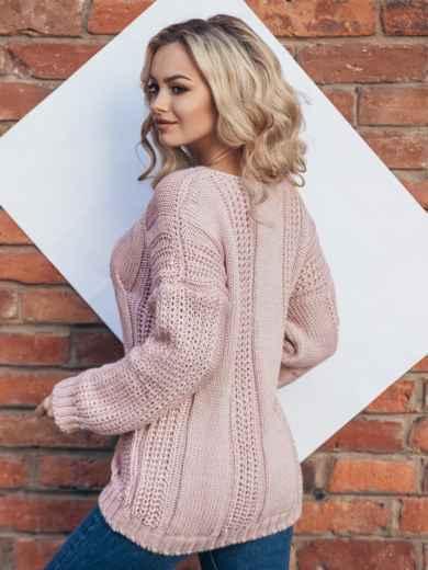 Вязаная туника со спущенным плечом розовая - 13179, фото 3 – интернет-магазин Dressa