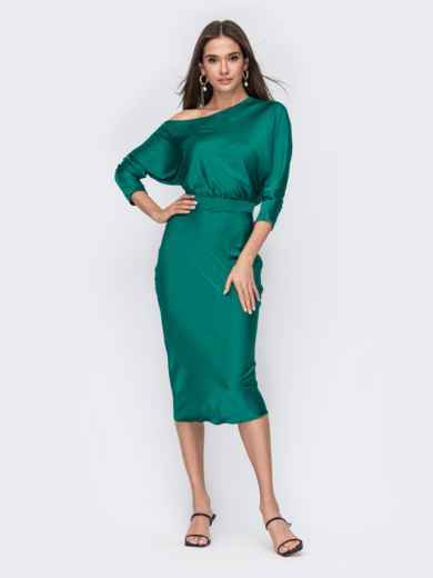 "Зеленое платье из шелка ""Армани"" на одно плечо 53485, фото 1"