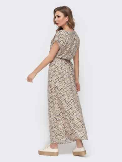 Бежевое платье-макси с принтом и резинкой в поясе 46773, фото 2