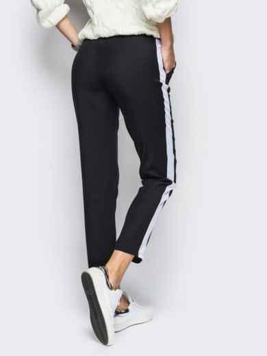 Черные брюки с поясом-резинкой и белыми лампасами - 10306, фото 3 – интернет-магазин Dressa