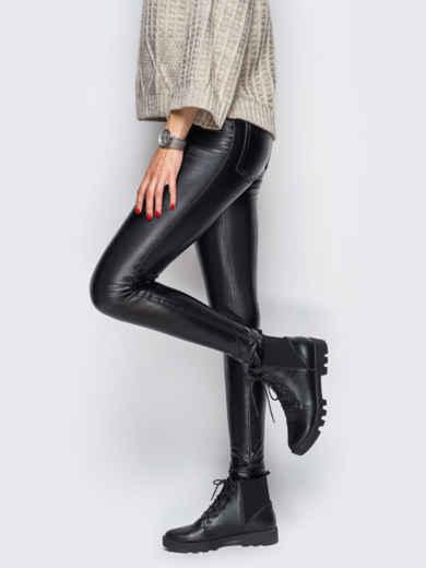 Эко-кожаные лосины без застёжек чёрные - 10651, фото 2 – интернет-магазин Dressa