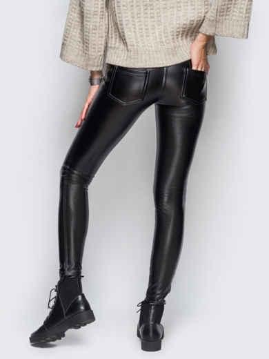 Эко-кожаные лосины без застёжек чёрные - 10651, фото 3 – интернет-магазин Dressa