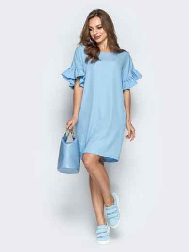 Голубое платье свободного кроя с воланами на рукавах - 21341, фото 2 – интернет-магазин Dressa