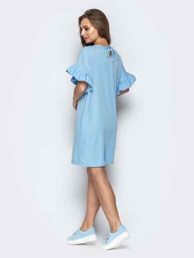 Голубое платье свободного кроя с воланами на рукавах - 21341, фото 3 – интернет-магазин Dressa