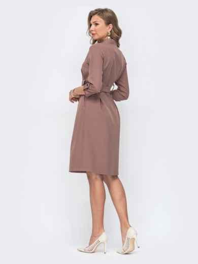 Коричневое платье с расклешенной юбкой 49403, фото 2