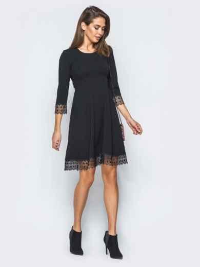 Платье с завышенной талией и кружевом черное - 17370, фото 2 – интернет-магазин Dressa