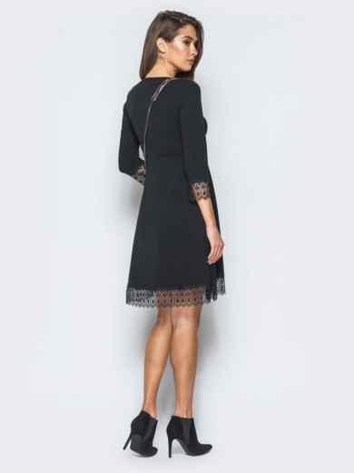 Платье с завышенной талией и кружевом черное - 17370, фото 3 – интернет-магазин Dressa