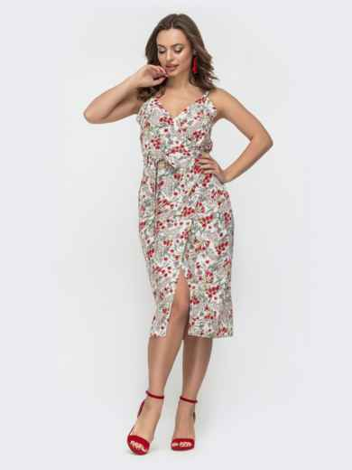 Приталенное платье с принтом на узких бретелях белое 46787, фото 1