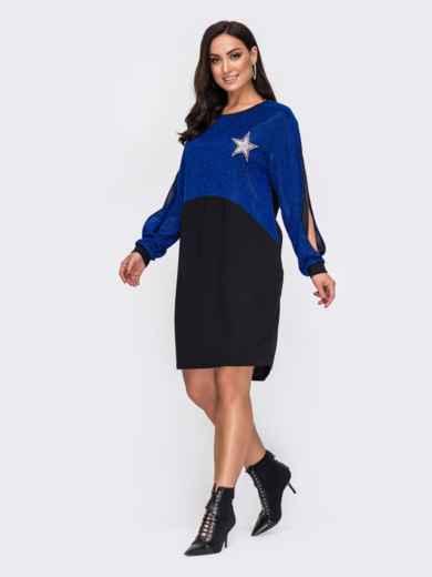 Синее платье батал с кокеткой из люрекса 52166, фото 1