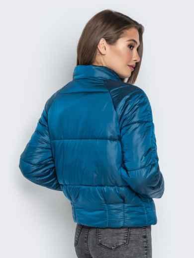 Укороченная куртка с воротником-стойкой и карманами синяя - 20308, фото 3 – интернет-магазин Dressa